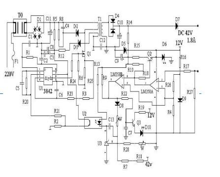 电动车充电器uc3842电路维修